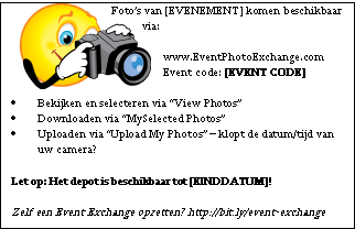 Visitekaartjes ter promotie - Event Photo Exchange Depot
