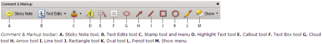 Adobe Acrobat Reader - commenting and markup tools