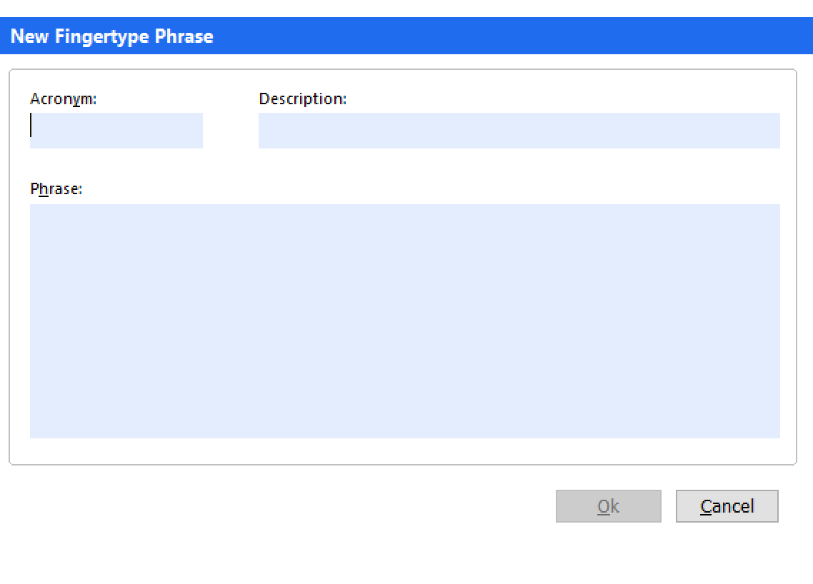 New Fingertype phrase popup