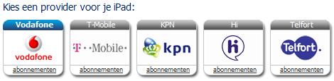 Data provider iPad Vodafone T-Mobile KPN Hi Telfort