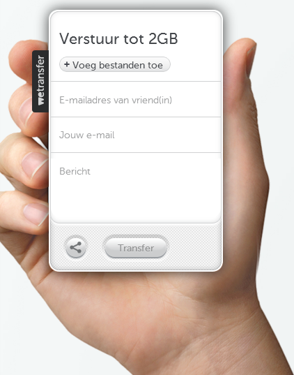 WeTransfer interface
